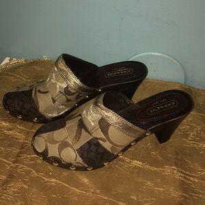 COACH Brown Gold Mule Shoes